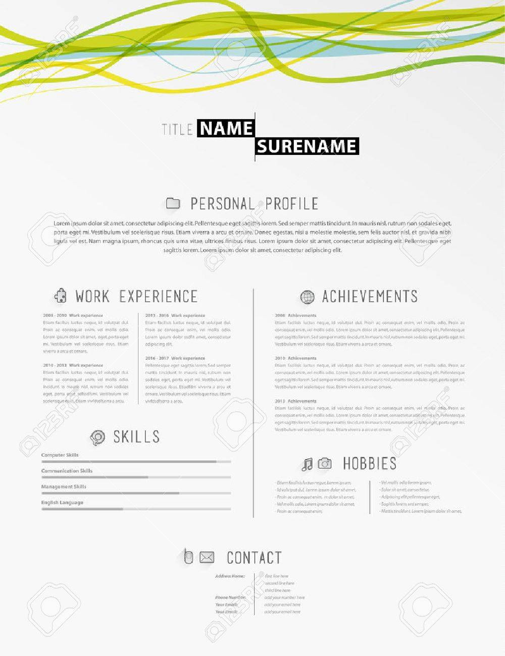 Creative simple cv template with colorful lines in header royalty creative simple cv template with colorful lines in header stock vector 64539048 yelopaper Gallery