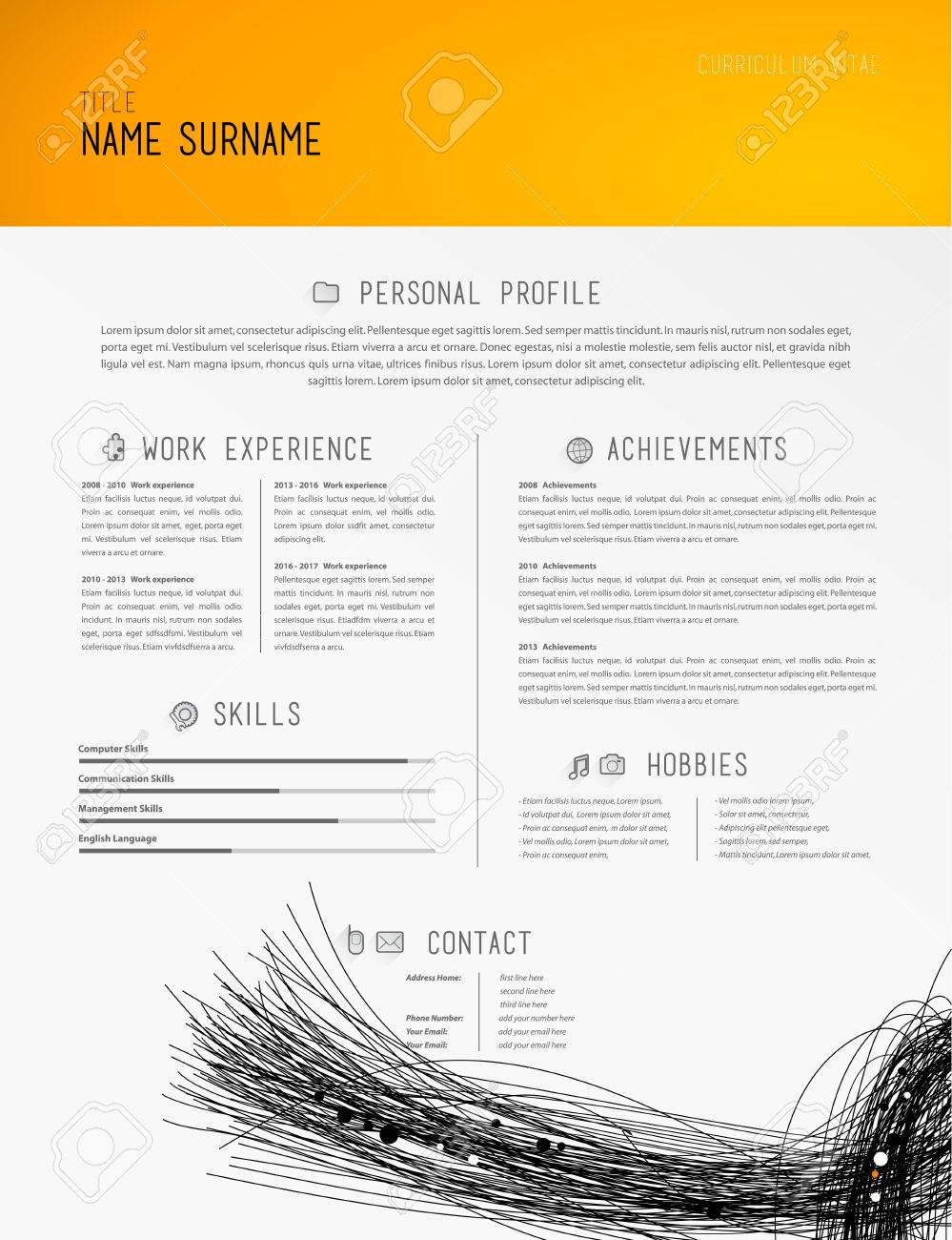 Kreative Einfachen Cv Vorlage Mit Schwarzen Linien In Der Fußzeile