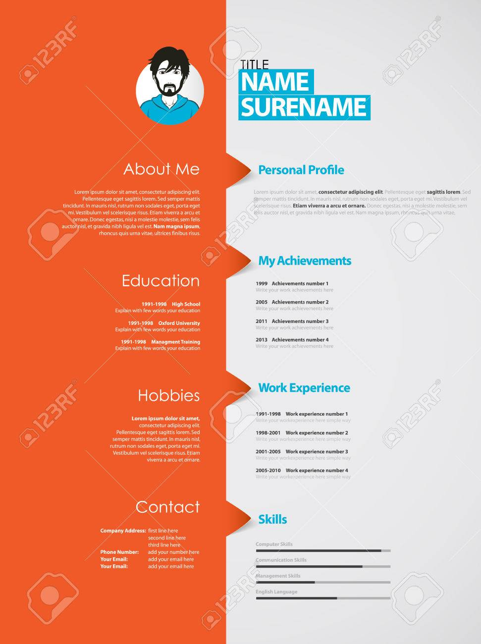 creative curriculum vitae template with orange stripe royalty free