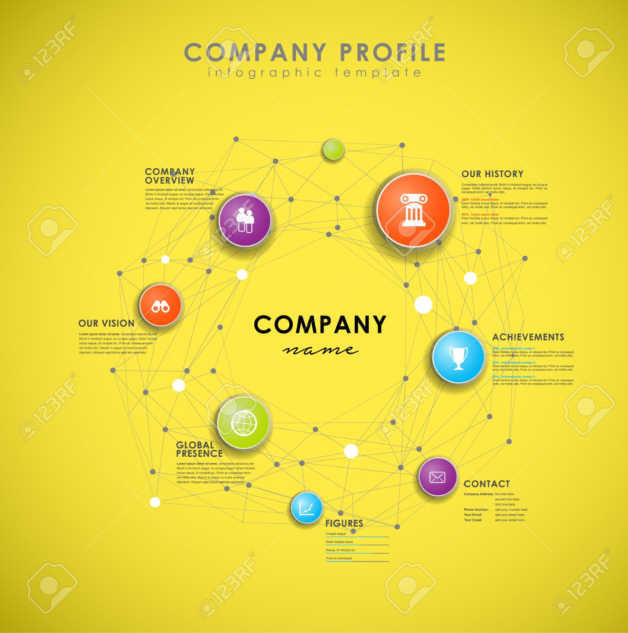 Company Profile Overview Template With Colorful Circles On Yellow ...