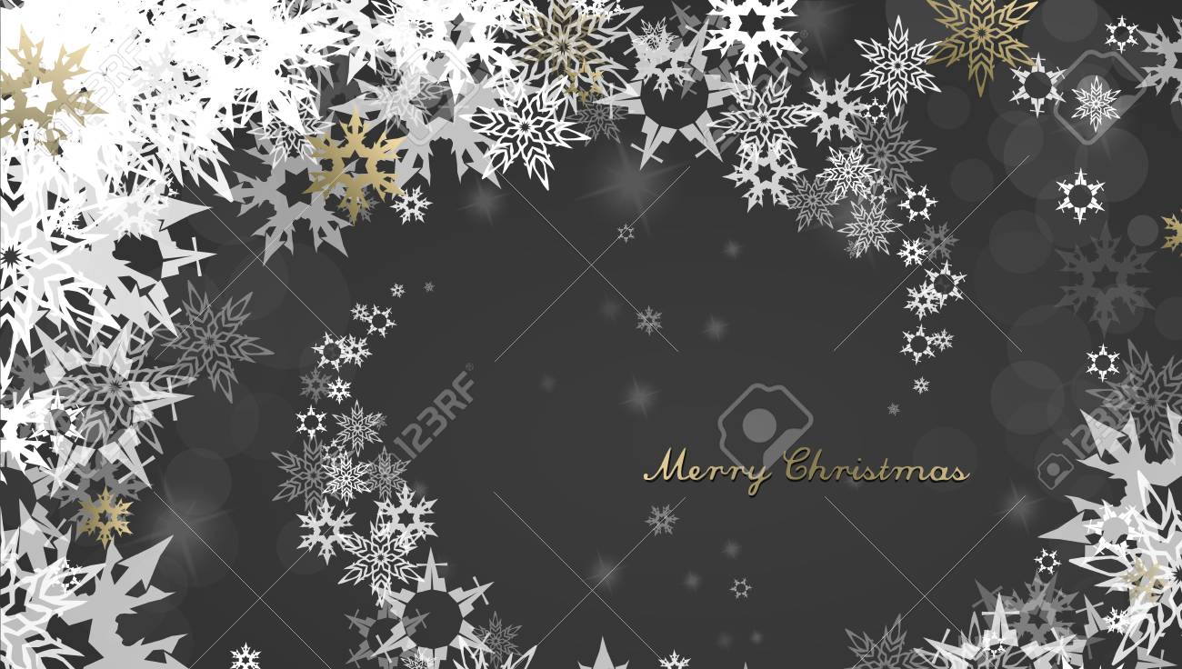 Christmas dark background with golden - white snowflakes and Merry Christmas text - dark version - 67765497