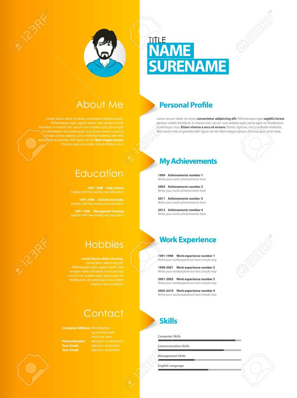 creative curriculum vitae template with orange stripe stock vector 78928900