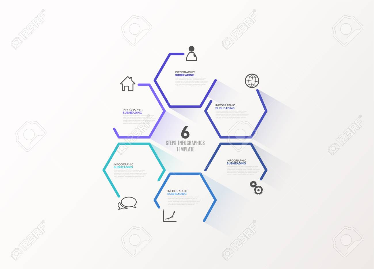 Six colorful hexagon vector progress steps illustration with