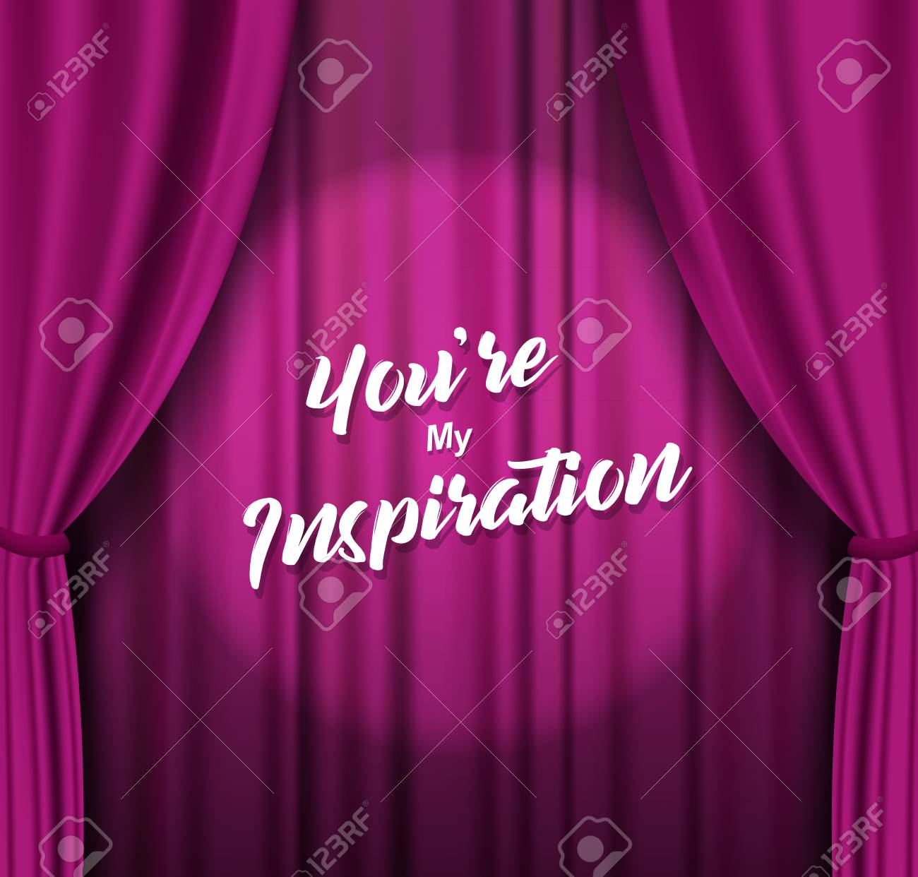 Theater stage with purple heavy curtain with text. - 126166027
