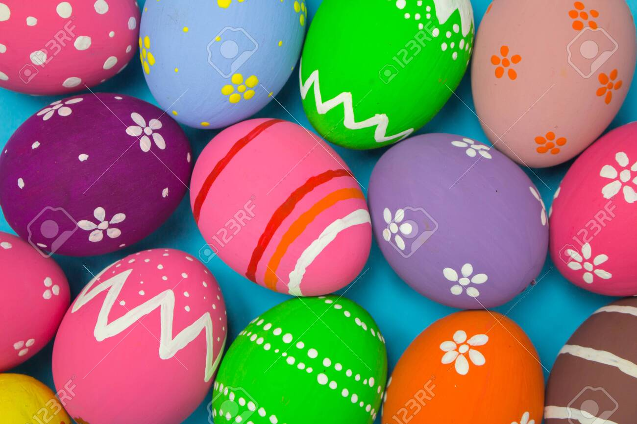 Top View Easter Egg Painting Colorful During The Easter And Sky.. Stock  Photo, Picture And Royalty Free Image. Image 135775861.