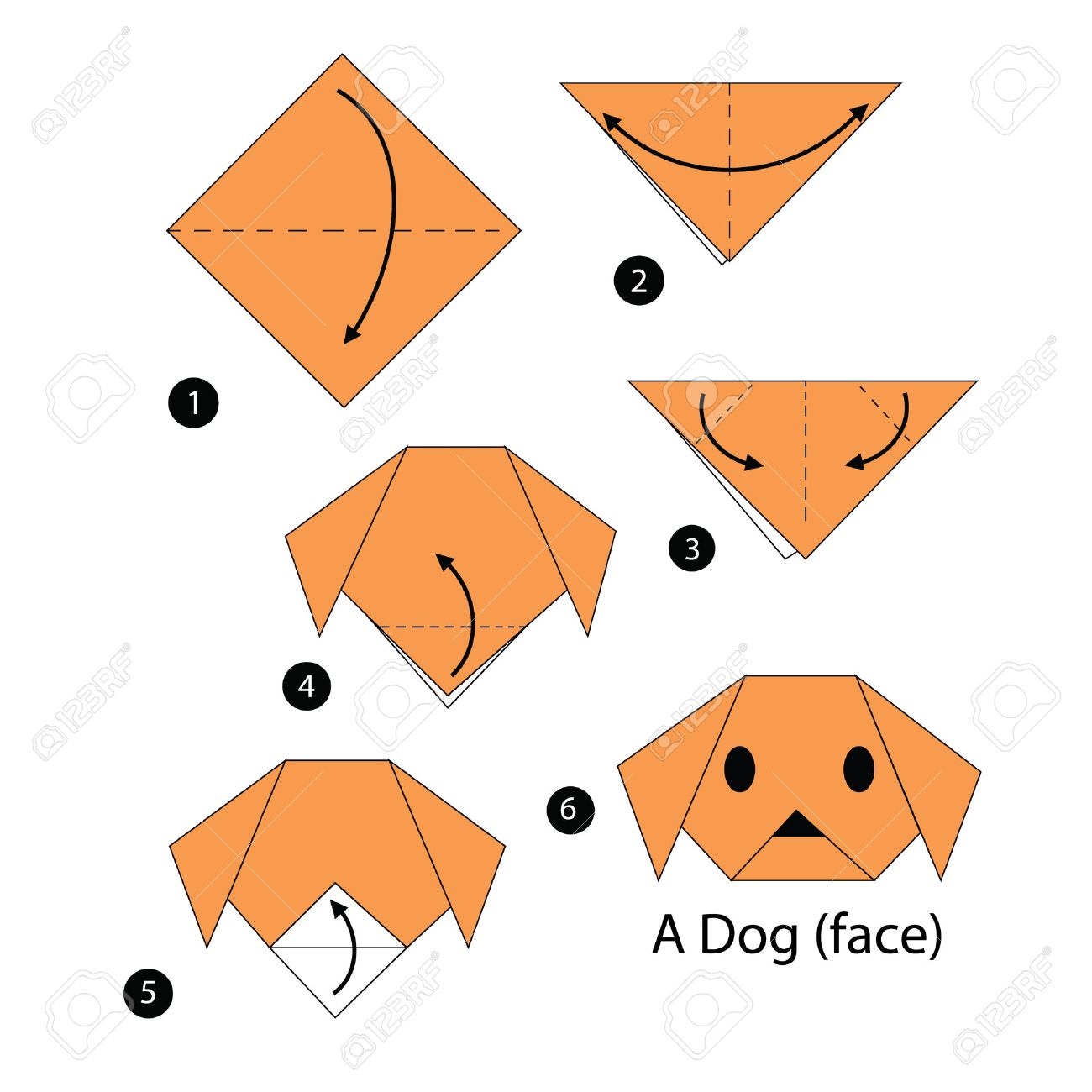 Step by step instructions how to make origami dog royalty free step by step instructions how to make origami dog stock vector 46230741 jeuxipadfo Image collections
