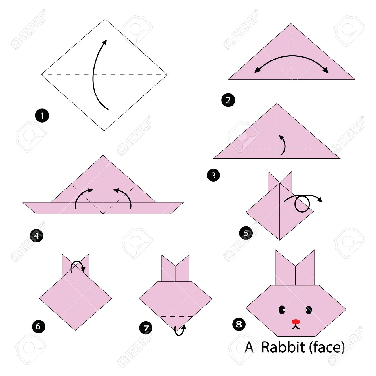 Step by step instructions how to make origami rabbit royalty free step by step instructions how to make origami rabbit stock vector 46230771 jeuxipadfo Gallery