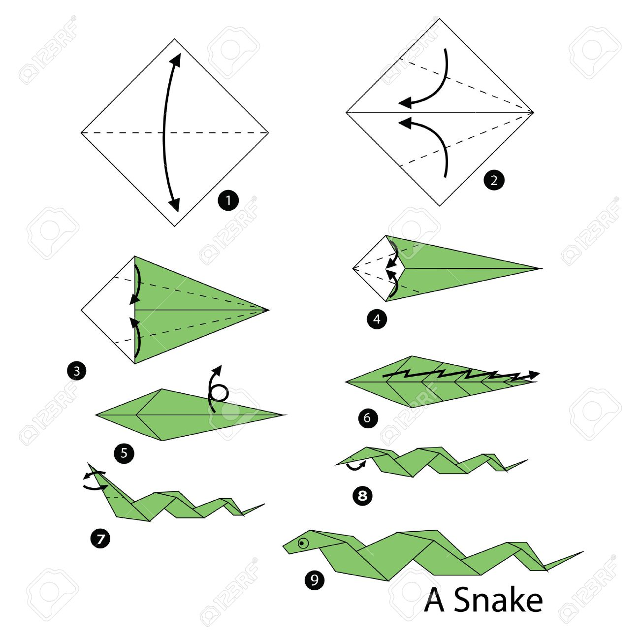 Step By Step Instructions How To Make Origami Snake Royalty Free