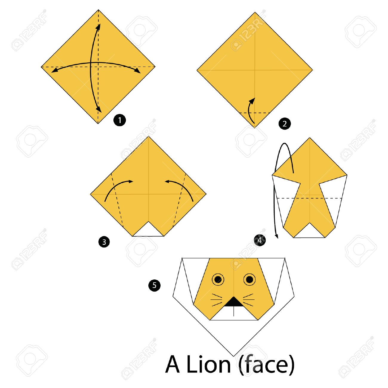Step by step instructions how to make origami lion royalty free step by step instructions how to make origami lion stock vector 47918294 jeuxipadfo Image collections