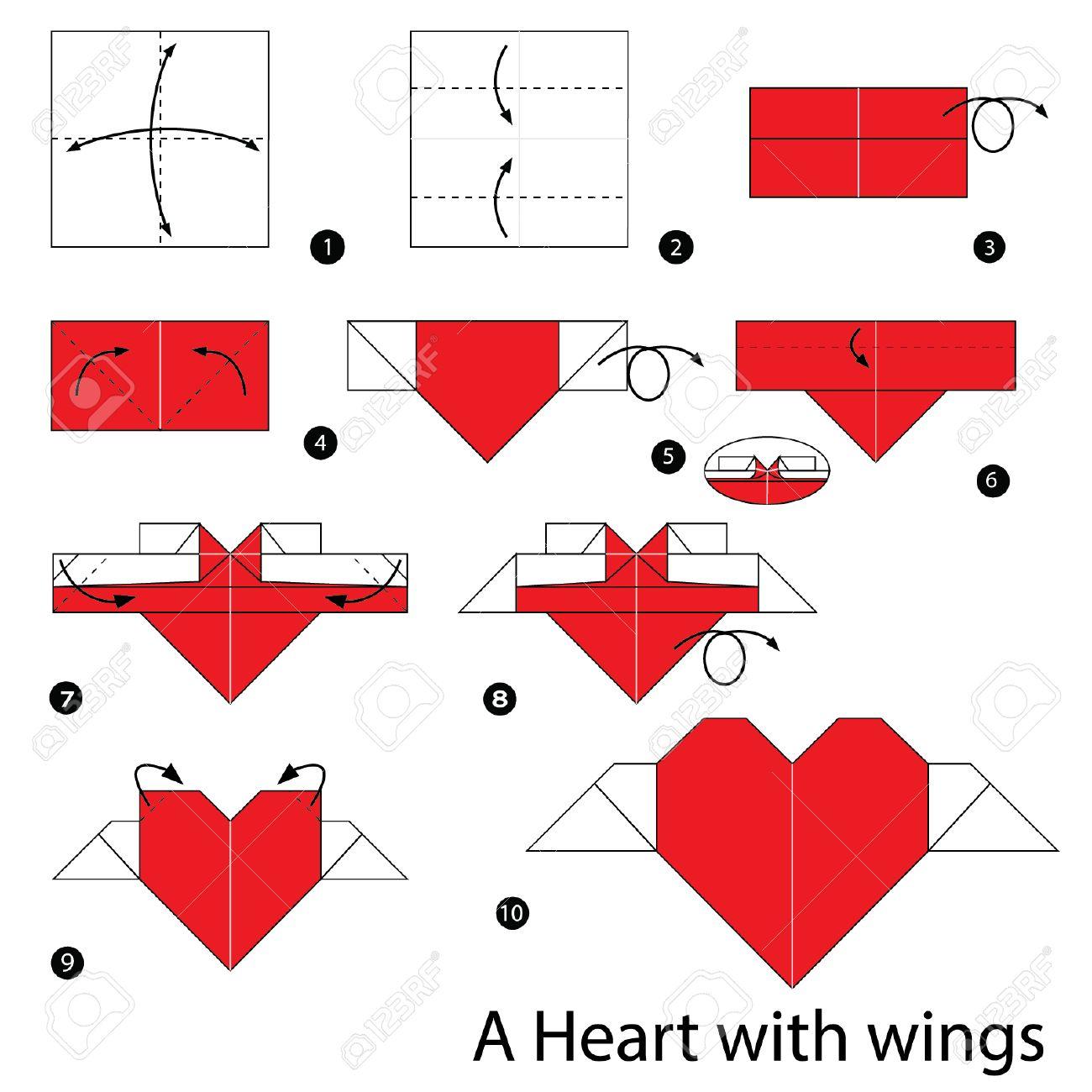 Instrucciones Paso A Paso Como Hacer Que El Corazon De Origami Con - Origami-corazn