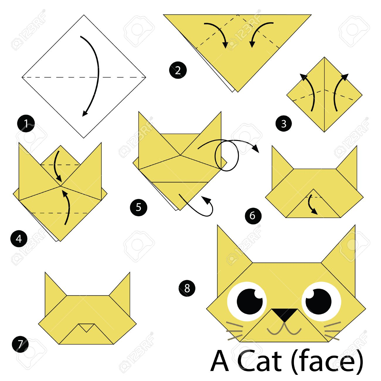 How To Make An Easy Origami Cat Face - Folding Instructions ... | 1300x1300