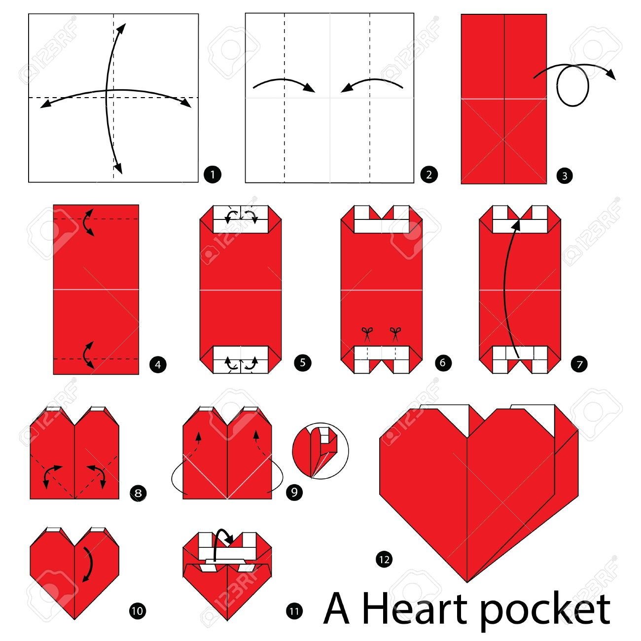 Origami Heart with Wings Instructions and Diagram | 1300x1300
