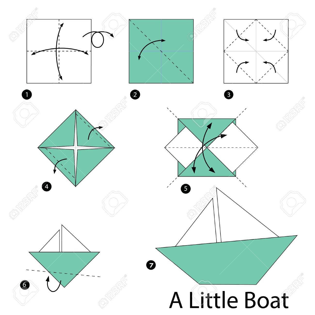 Step By Instructions How To Make Origami Little Boat Royalty Dog Diagram Stock Vector 51275157