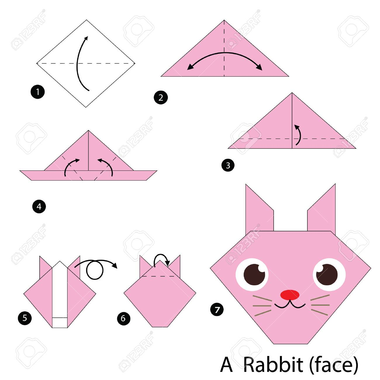 Origami Bunny Rabbit Tutorial & Diagram - Paper Kawaii | 1300x1300