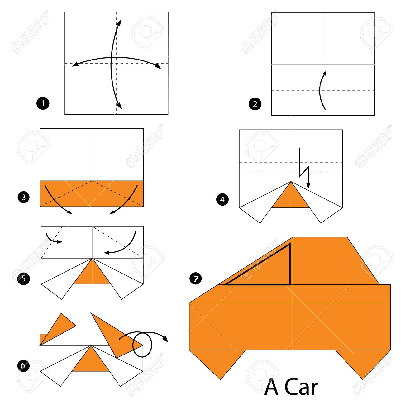 Step By Instructions How To Make Origami A Car Stock Vector