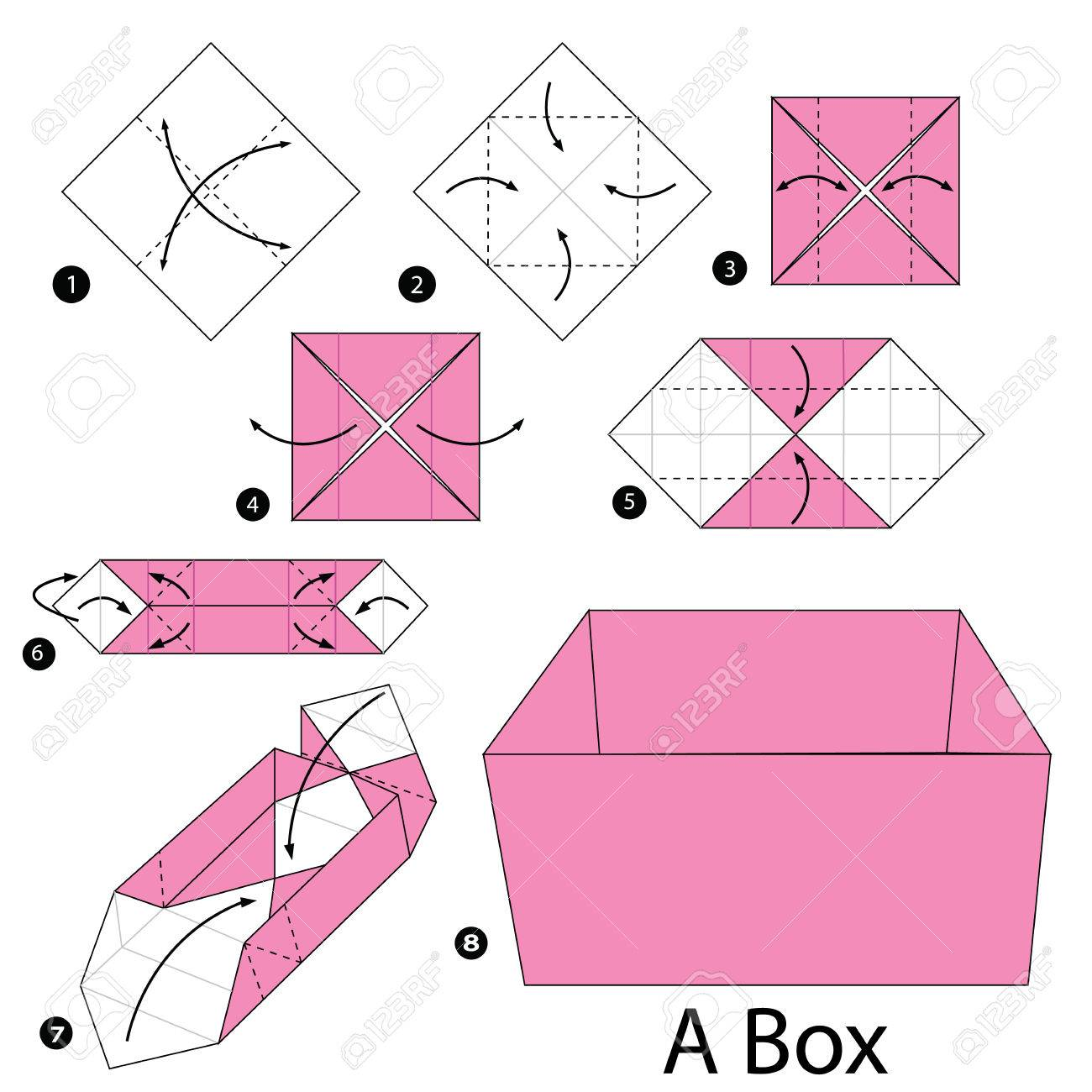 Step by step instructions how to make origami a box royalty free step by step instructions how to make origami a box stock vector 54302331 jeuxipadfo Images