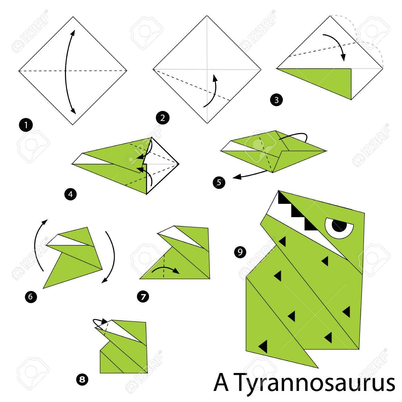 Instrucciones Paso A Paso Cmo Hacer Un Origami Un Dinosaurio