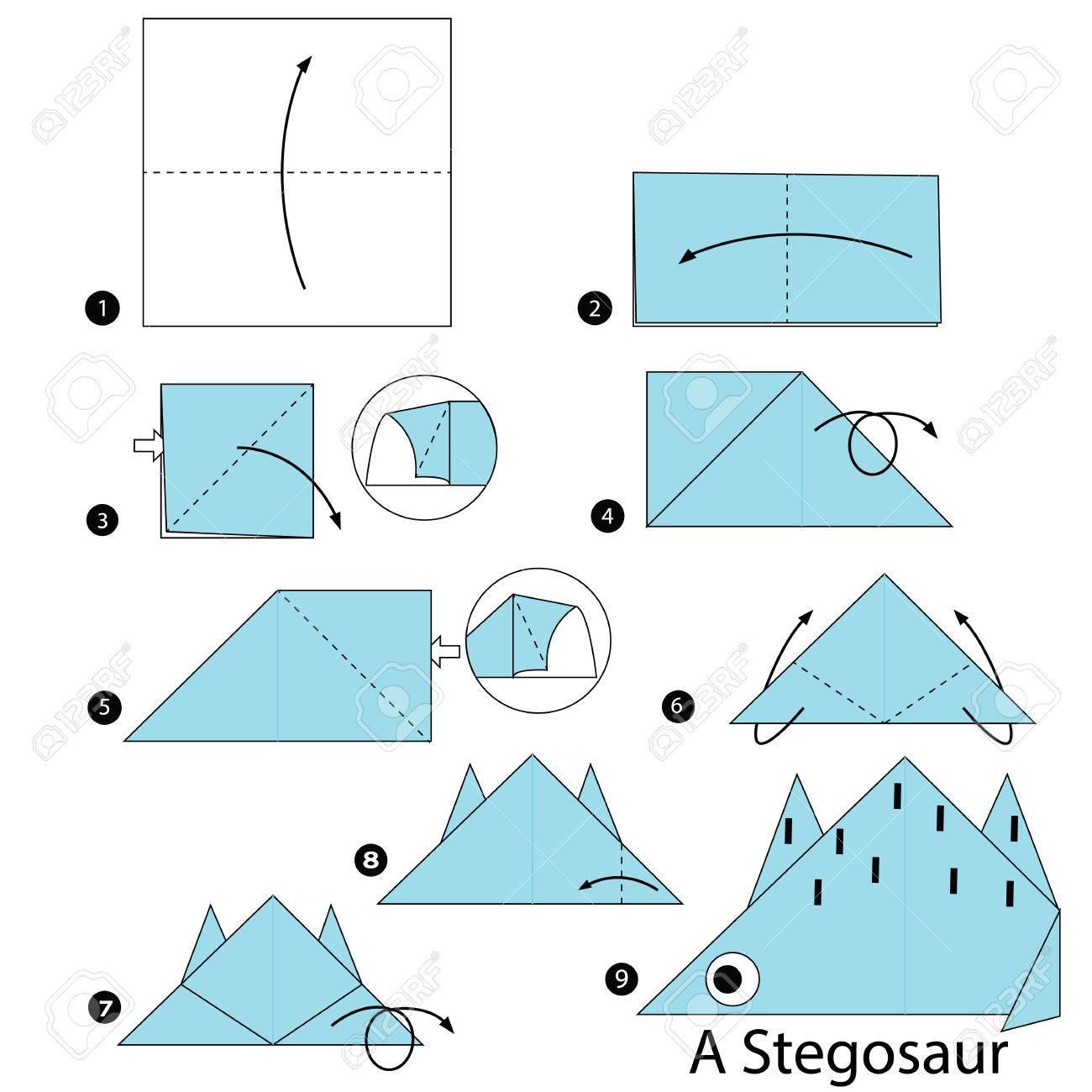 Paso A Paso Las Instrucciones De Cmo Hacer Un Origami Un Dinosaurio