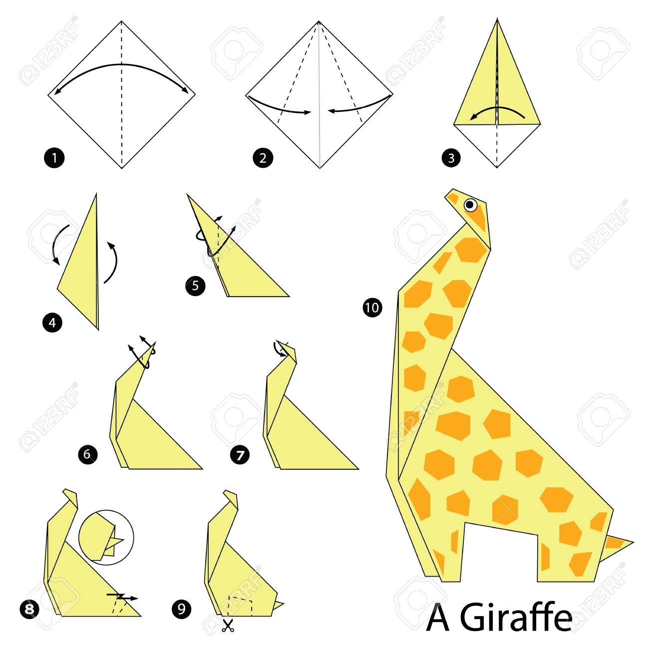 Step By Instructions How To Make Origami A Giraffe Stock Vector