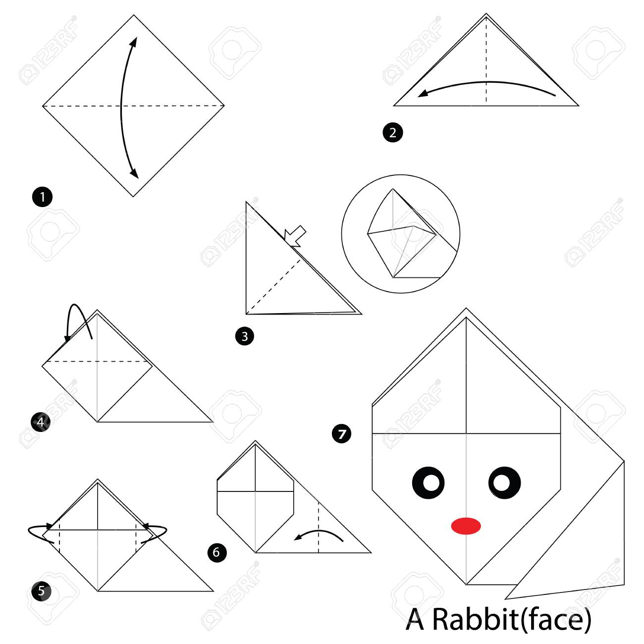 Step By Step Instructions How To Make Origami A Rabbit Royalty Free