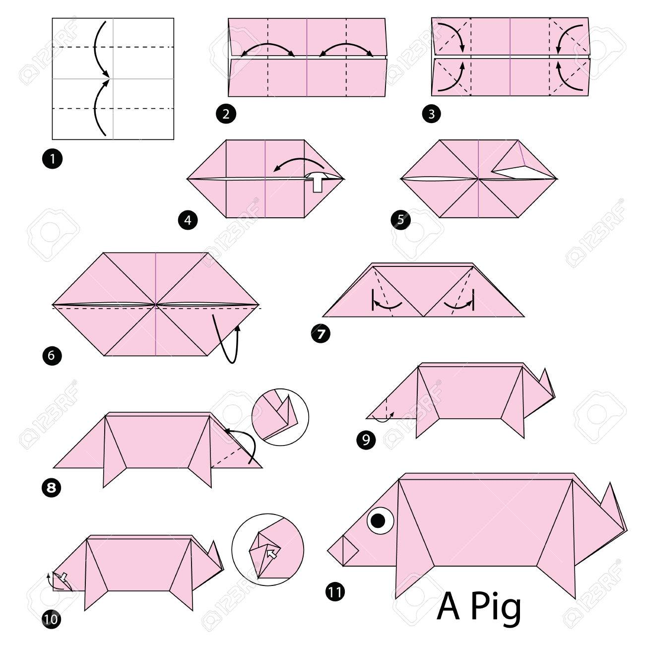 Step by step instructions how to make origami a pig royalty free step by step instructions how to make origami a pig stock vector 60420160 pooptronica