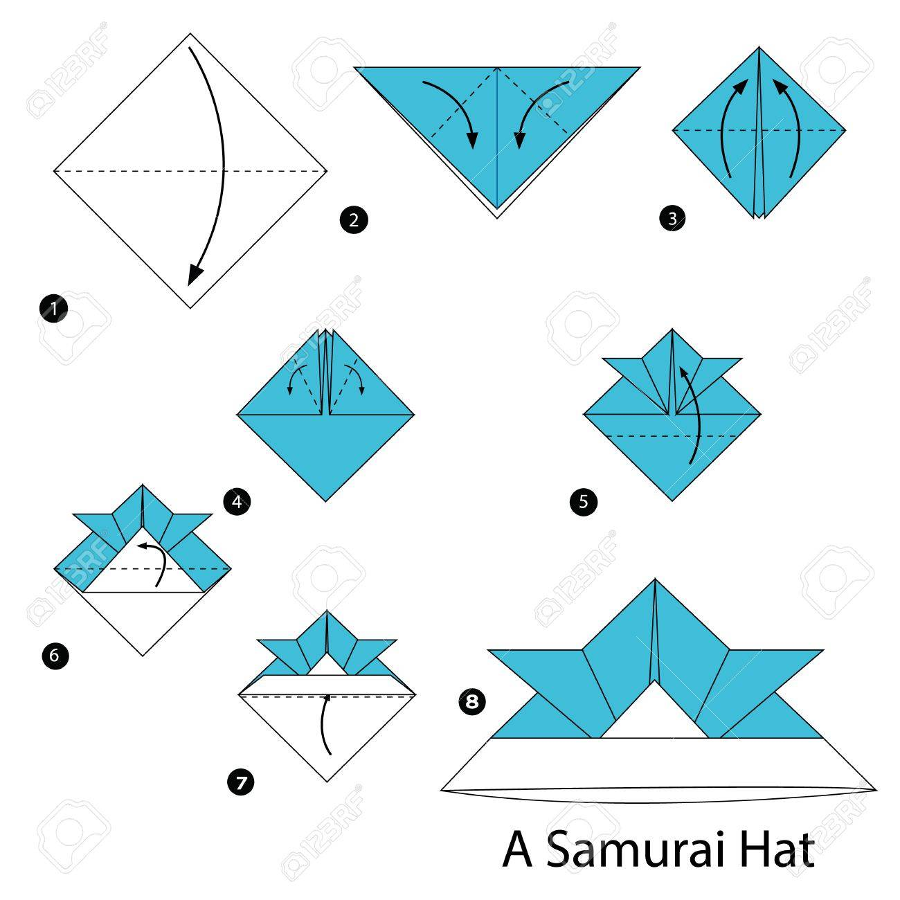 41352897cda5f step by step instructions how to make origami A Samurai Hat. Stock Vector -  60420161