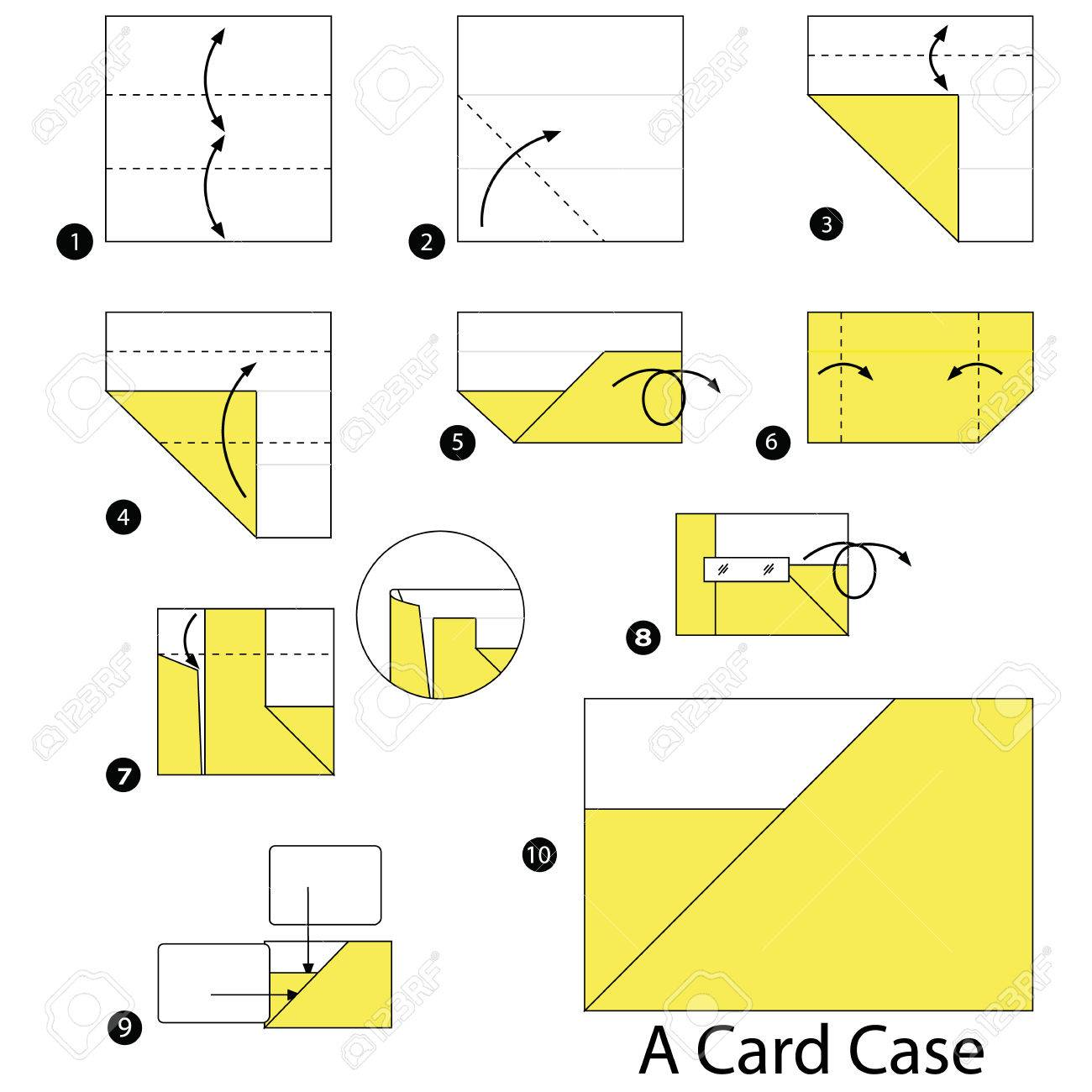 Step By Instructions How To Make Origami A Card Case Stock Vector