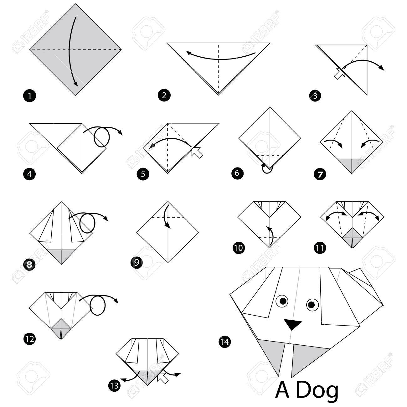 Step by step instructions how to make origami a dog royalty free step by step instructions how to make origami a dog stock vector 60420288 jeuxipadfo Image collections