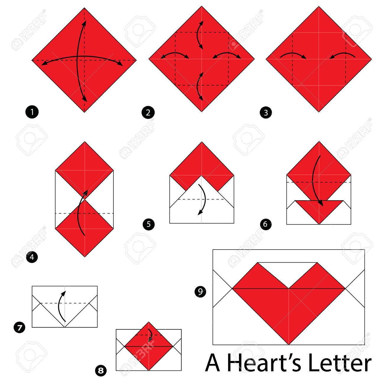 Instrucciones Paso A Paso Como Hacer Origami Carta De Un Corazon - Origami-corazn