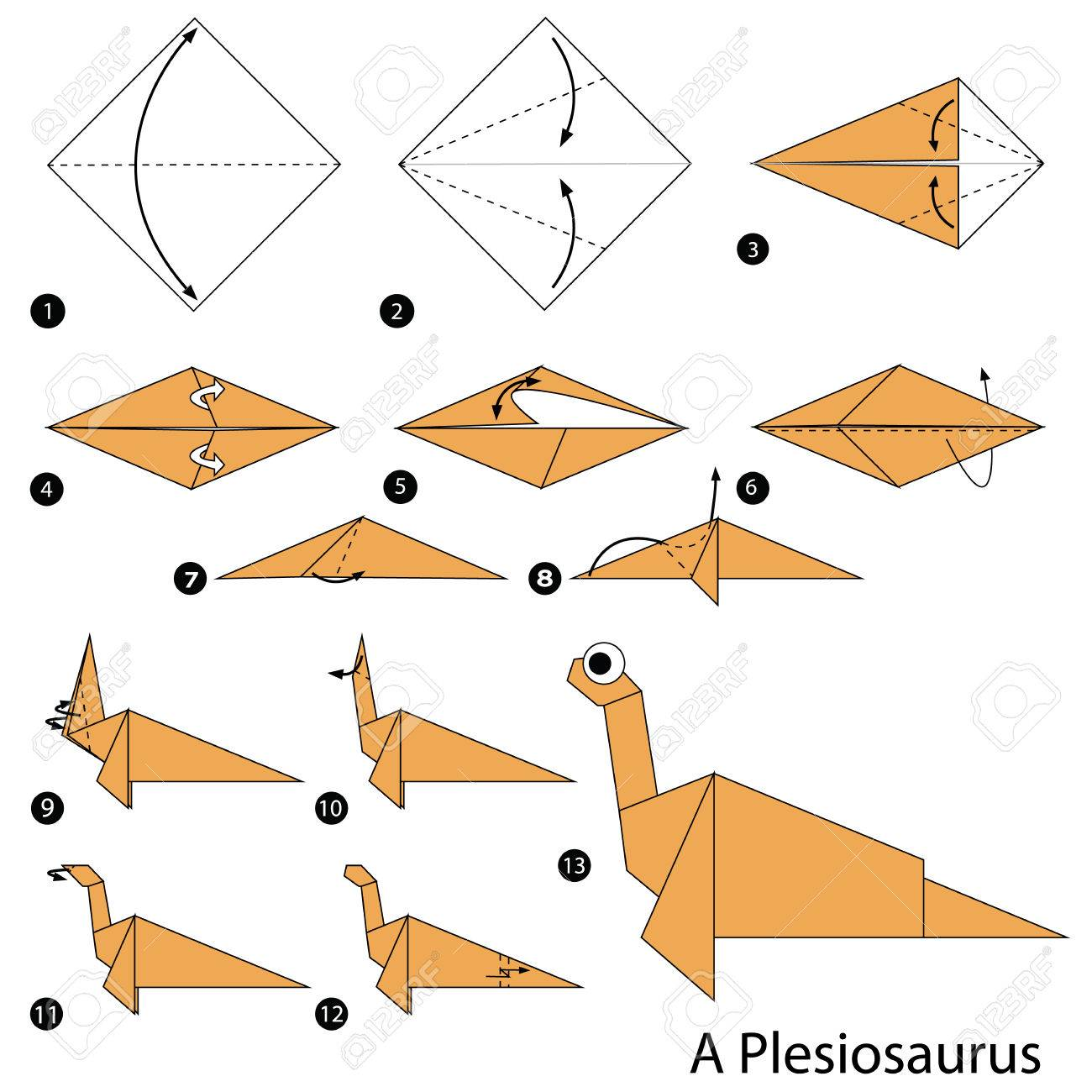 Step By Instructions How To Make An Origami Dinosaur Stock Vector