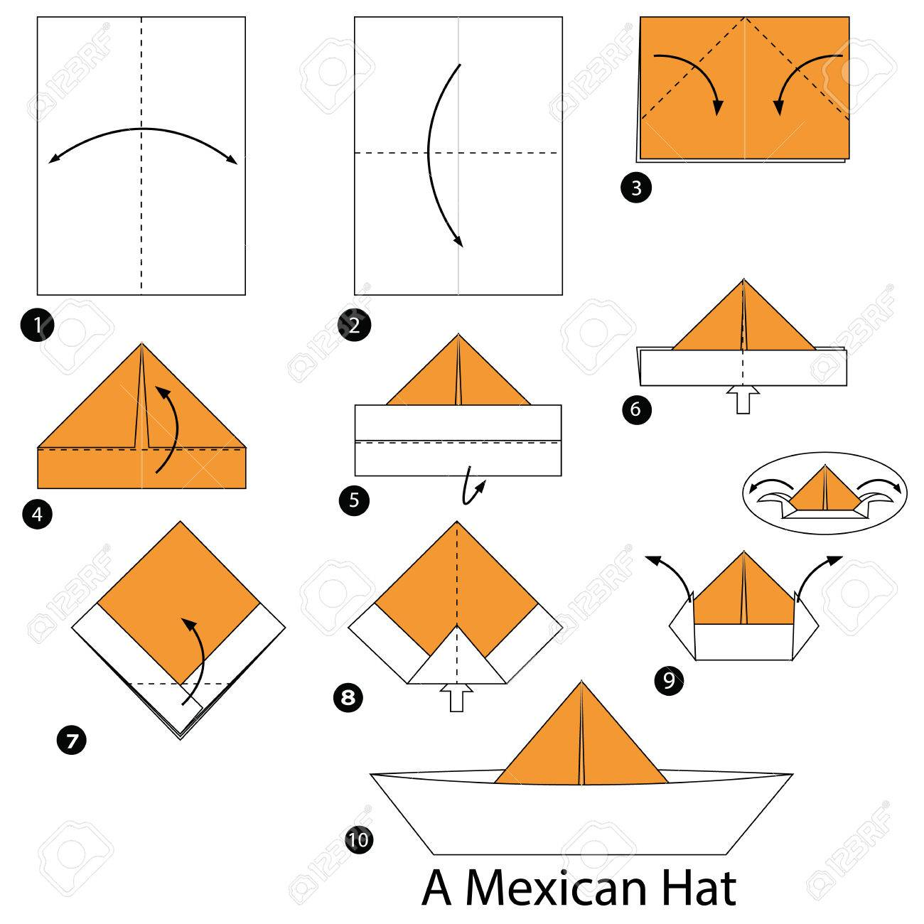 48c8587fa8e13 step by step instructions how to make origami A Mexican Hat. Stock Vector -  61260560