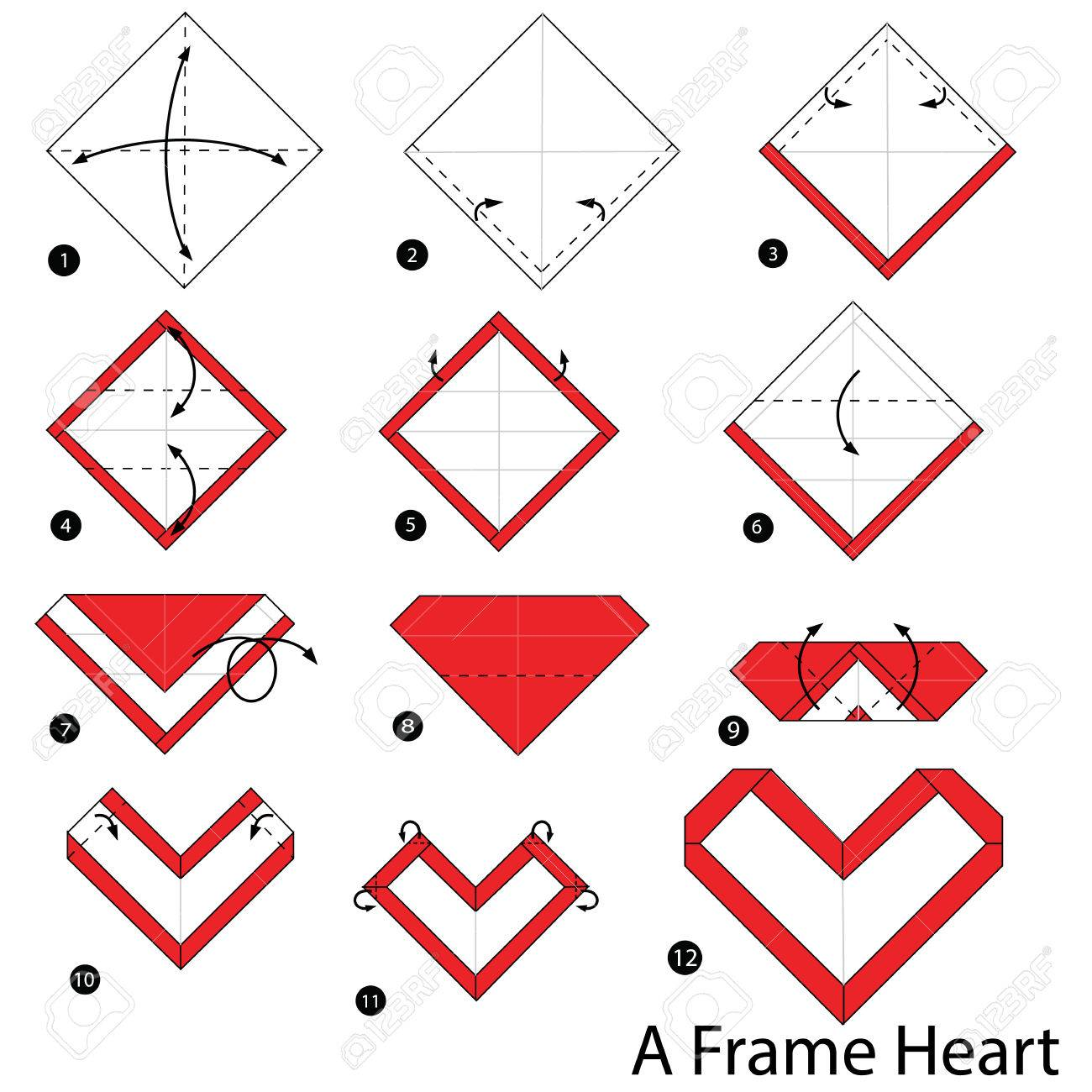 Step by step instructions how to make origami a frame heart step by step instructions how to make origami a frame heart stock vector 70447284 jeuxipadfo Images