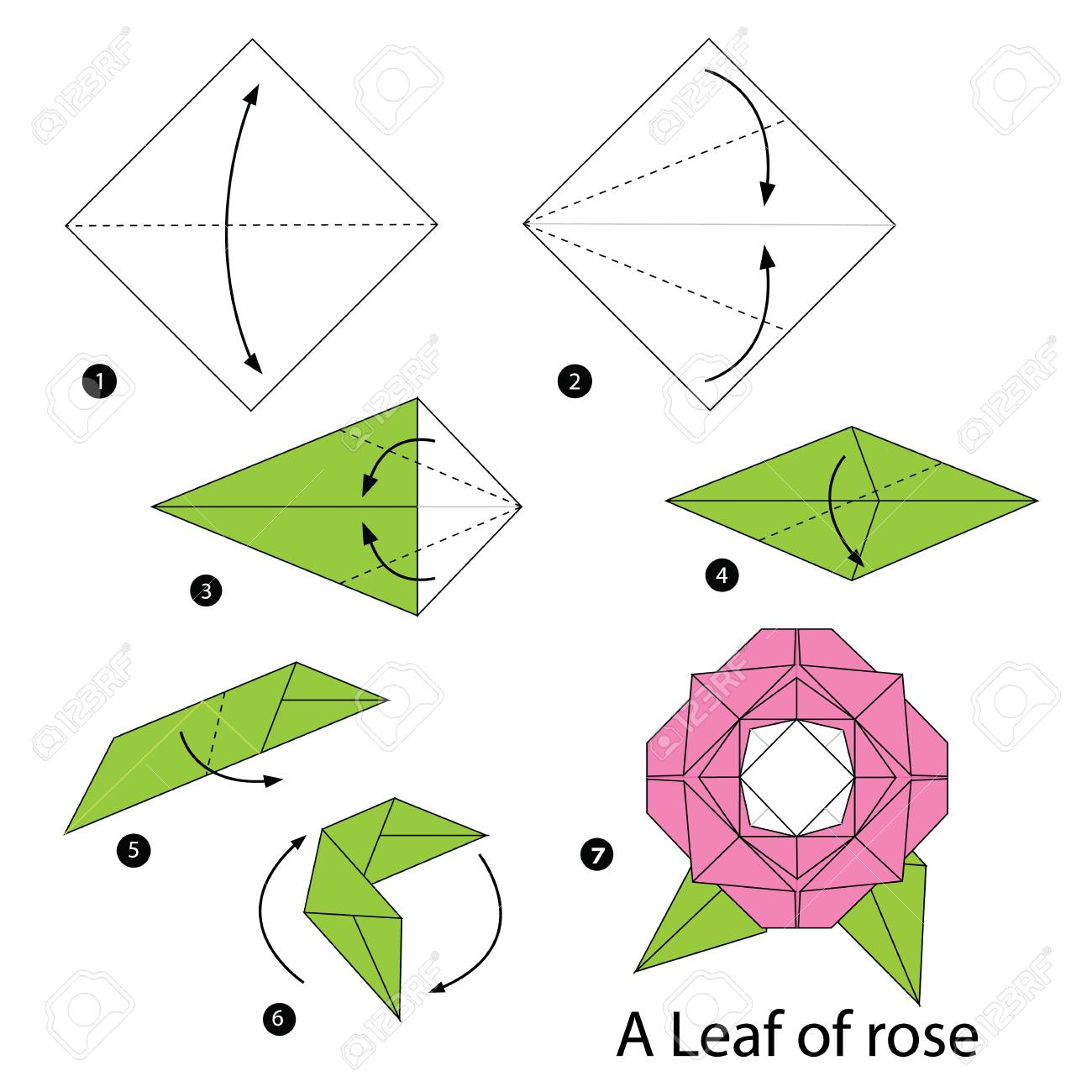 Step By Instructions How To Make Origami A Leaf Of Rose Stock Vector