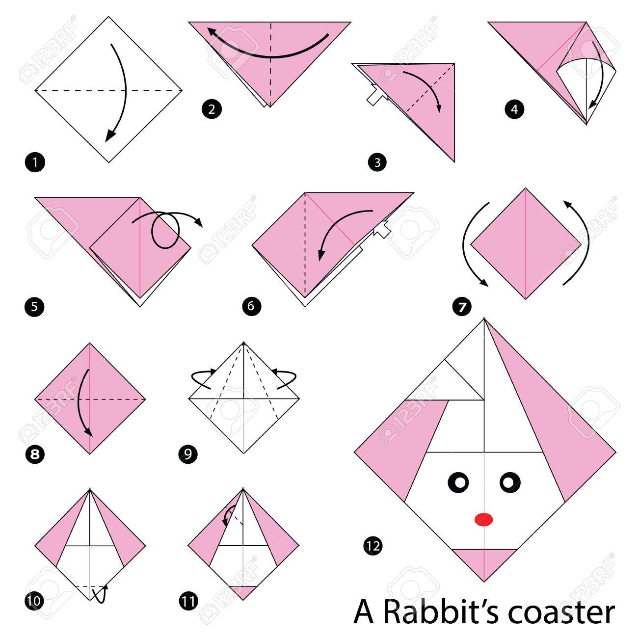 Step By Instructions How To Make Origami A Rabbits Coaster Stock Vector