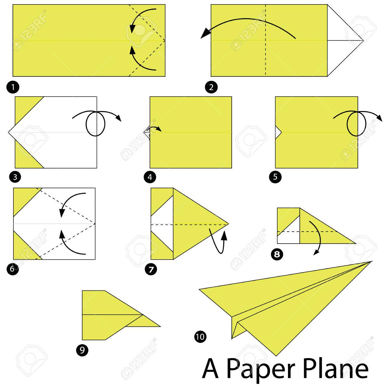 Step By Instructions How To Make Origami A Paper Plane Stock Vector