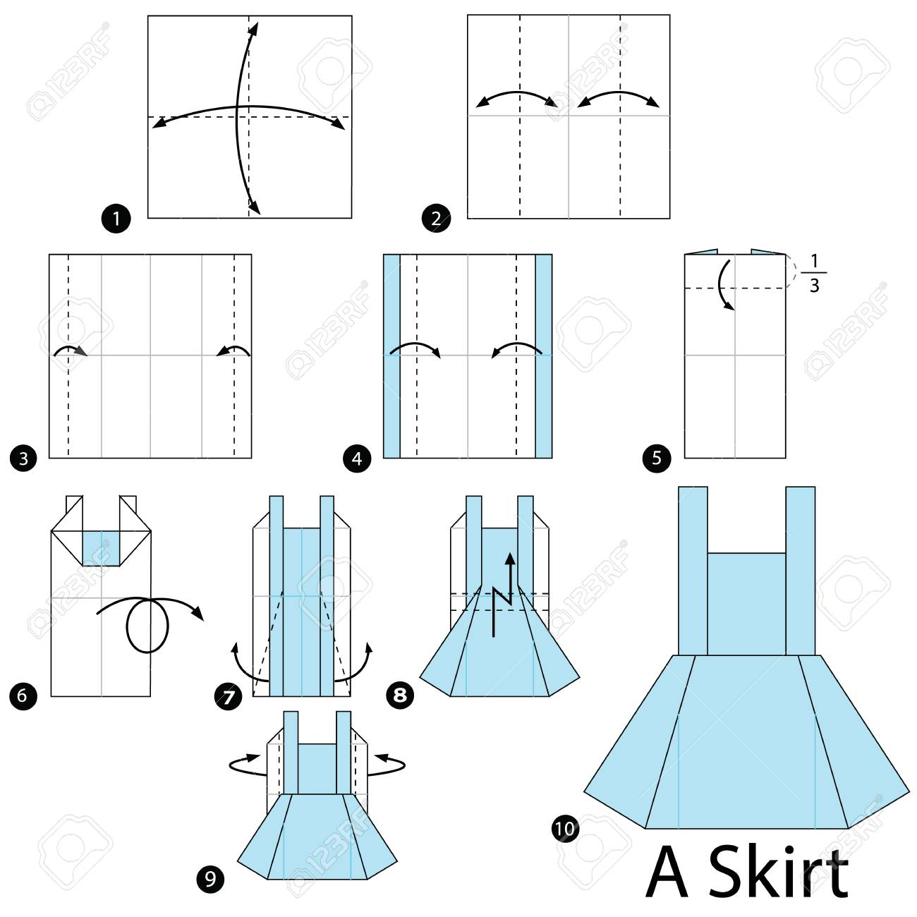 Origami skirt pattern from the sewing workshop.