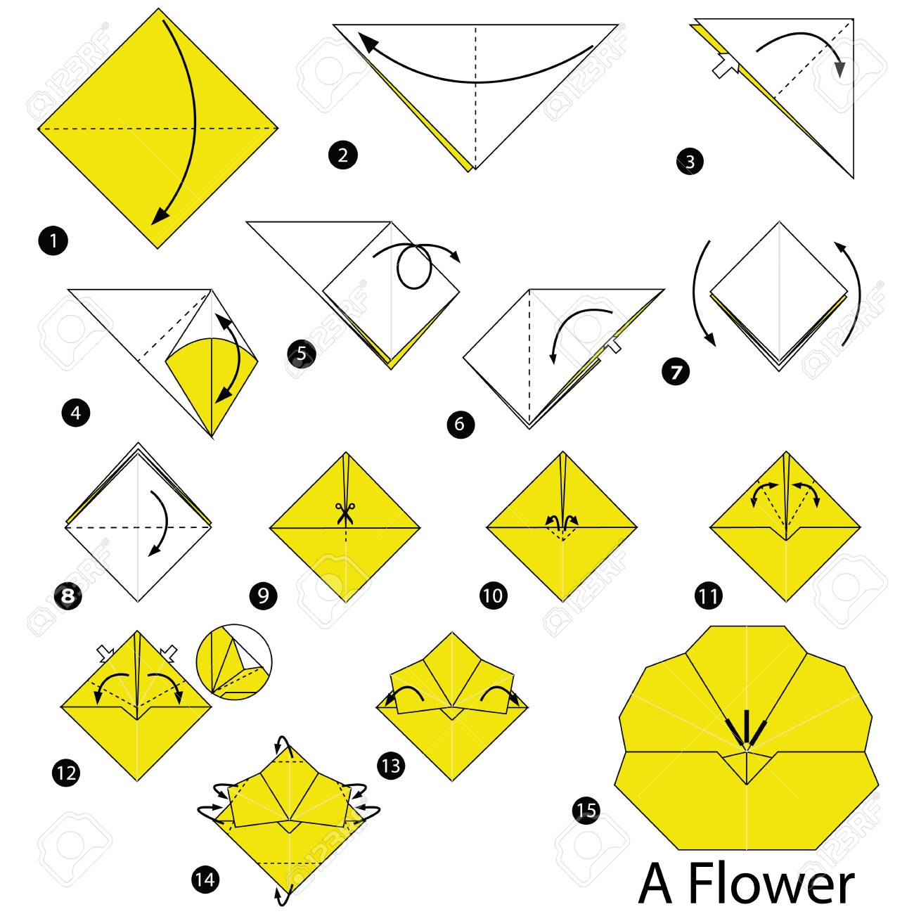 Step By Step Instructions How To Make Origami A Flower Royalty Free