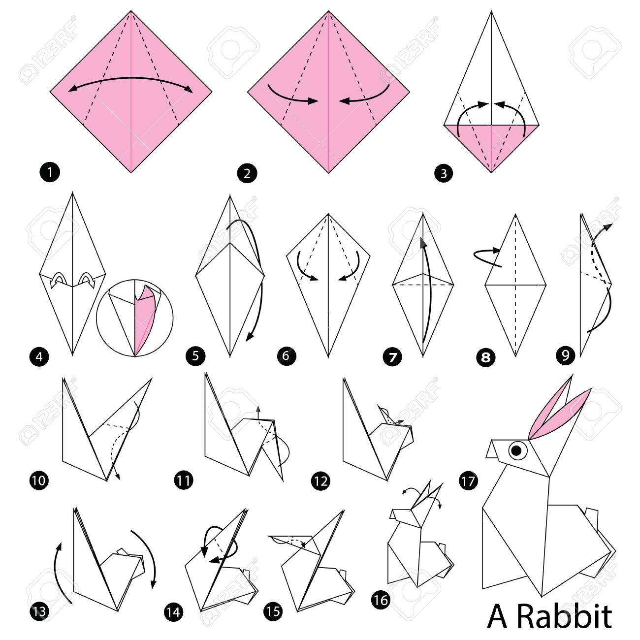 Step By Step Instructions How To Make Origami Rabbit Royalty Free