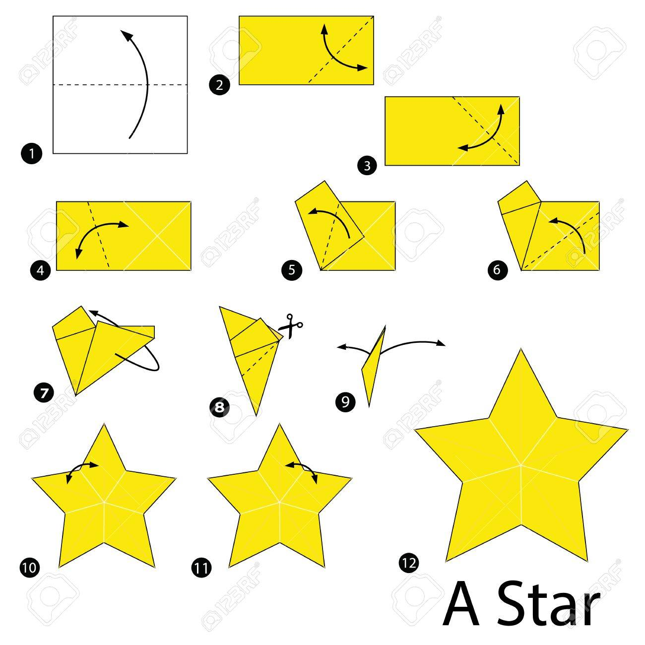 Step By Instructions How To Make Origami Star Stock Vector