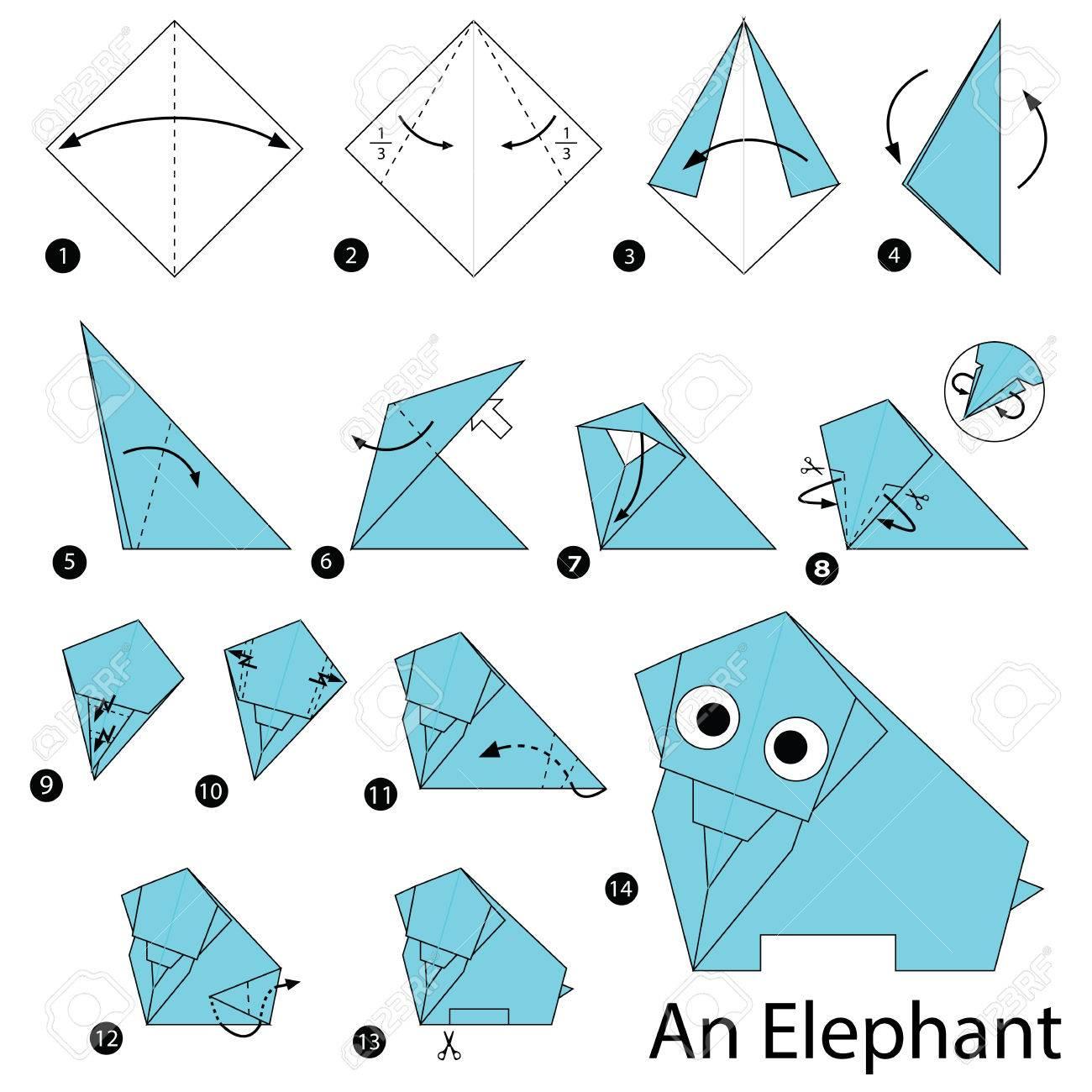 Relativ Schritt Für Schritt Anleitung, Wie Man Origami Ein Elefant Machen PB18