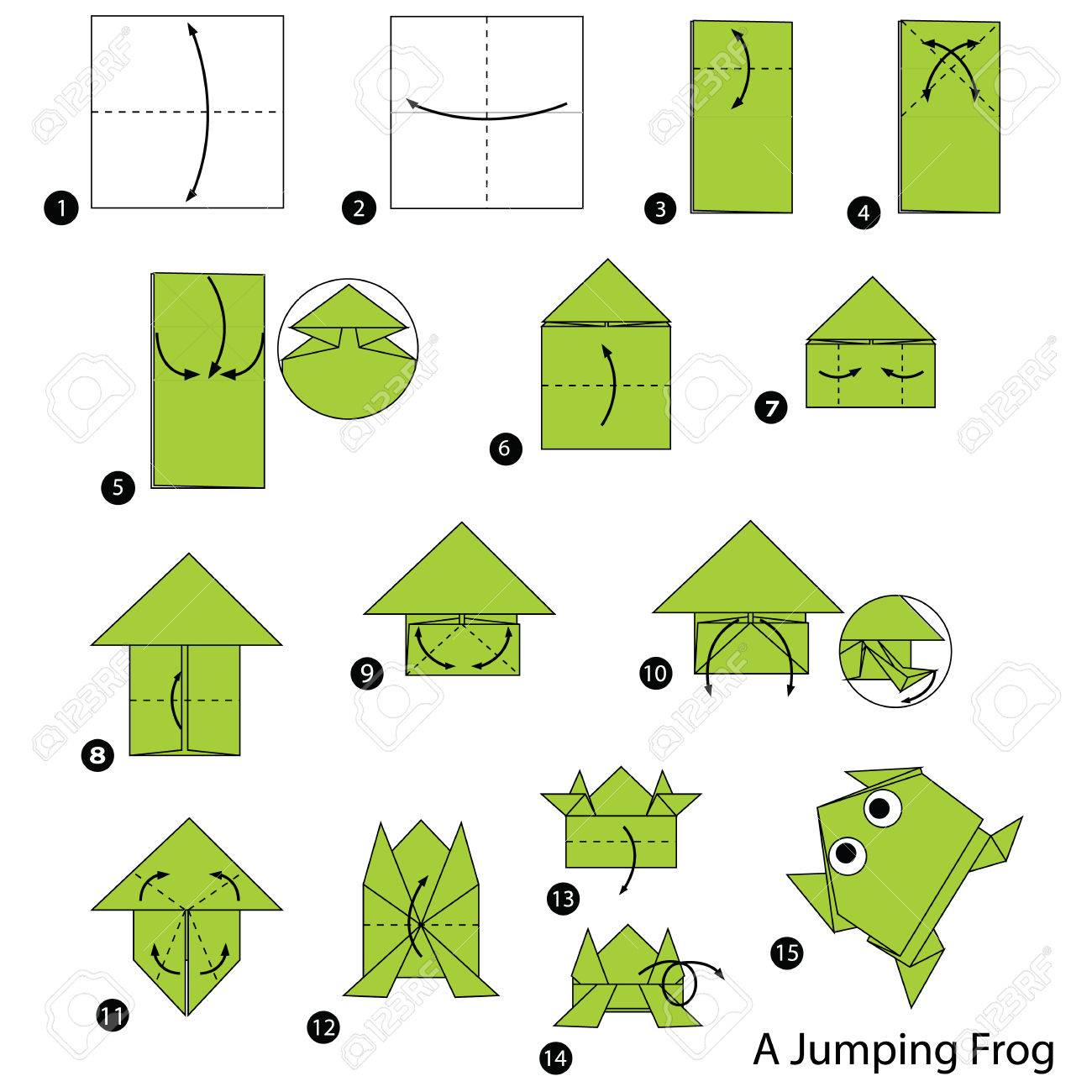 Step By Instructions How To Make Origami A Jumping Frog Stock Vector