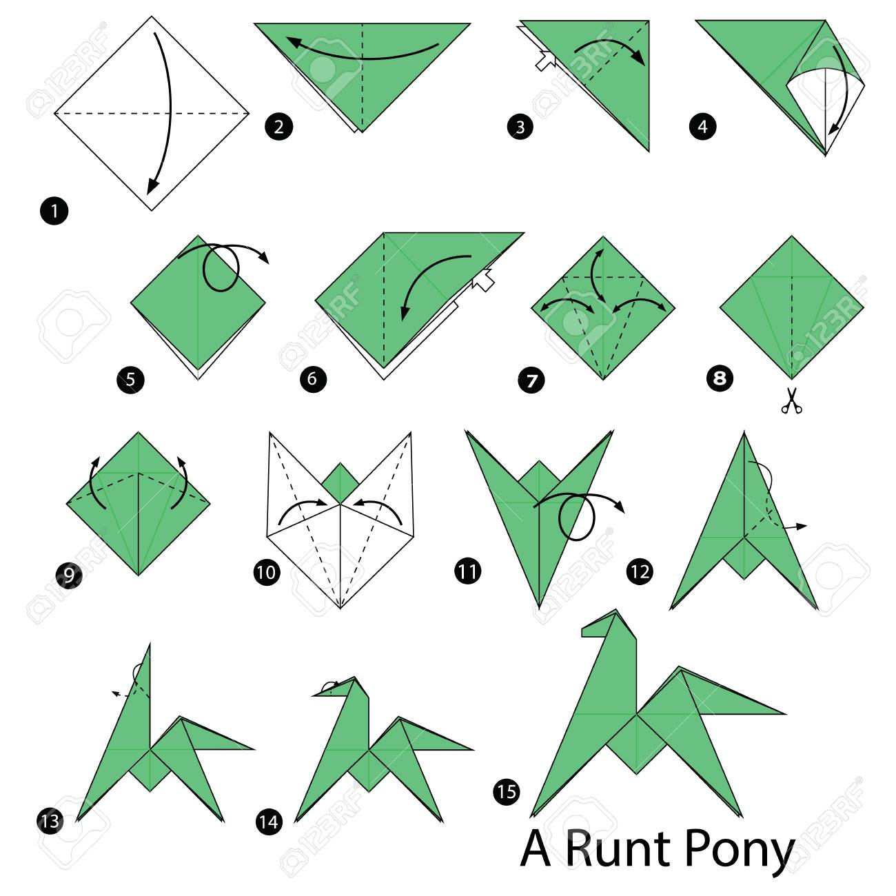 Step by step instructions on how to make origami of an runt pony step by step instructions on how to make origami of an runt pony stock vector jeuxipadfo Images