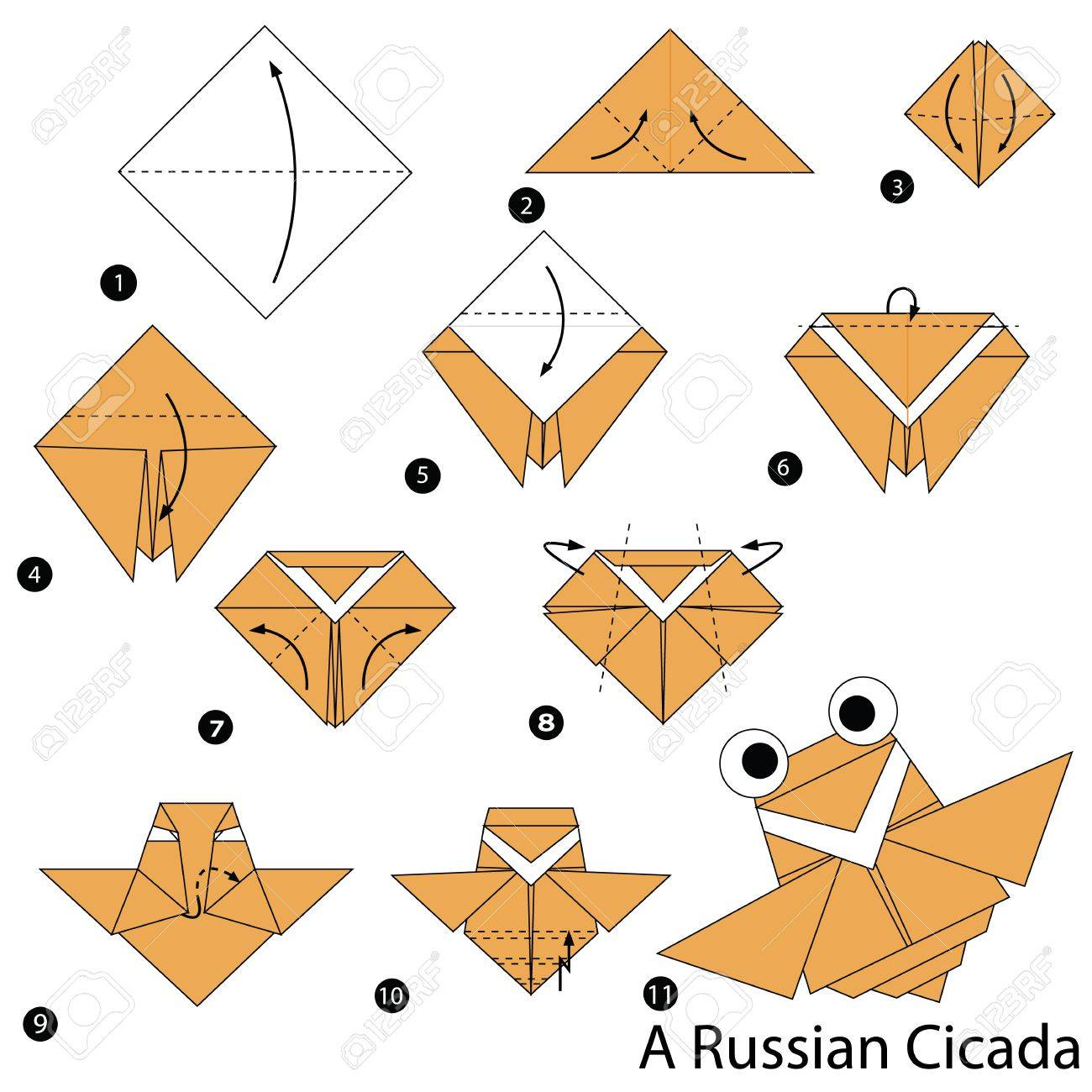 Step by step instructions on how to make origami a russian cicada step by step instructions on how to make origami a russian cicada stock vector jeuxipadfo Images