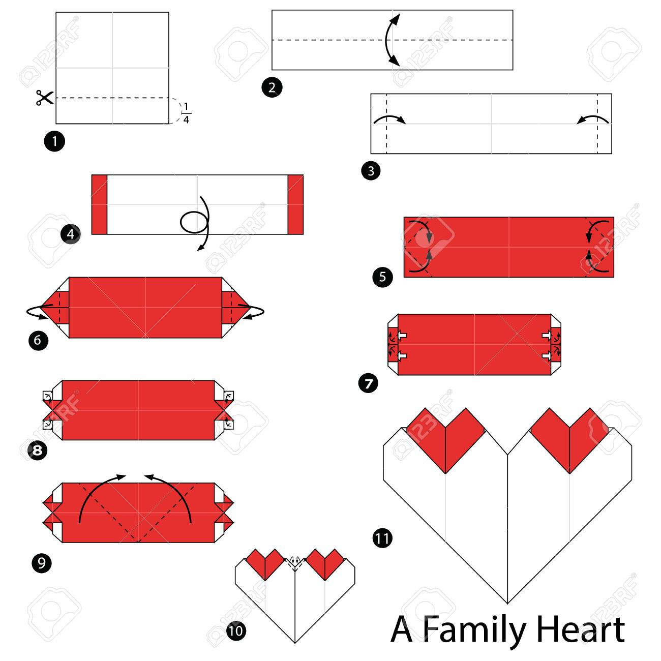 step by step instructions how to make origami A Family Heart - 93937561