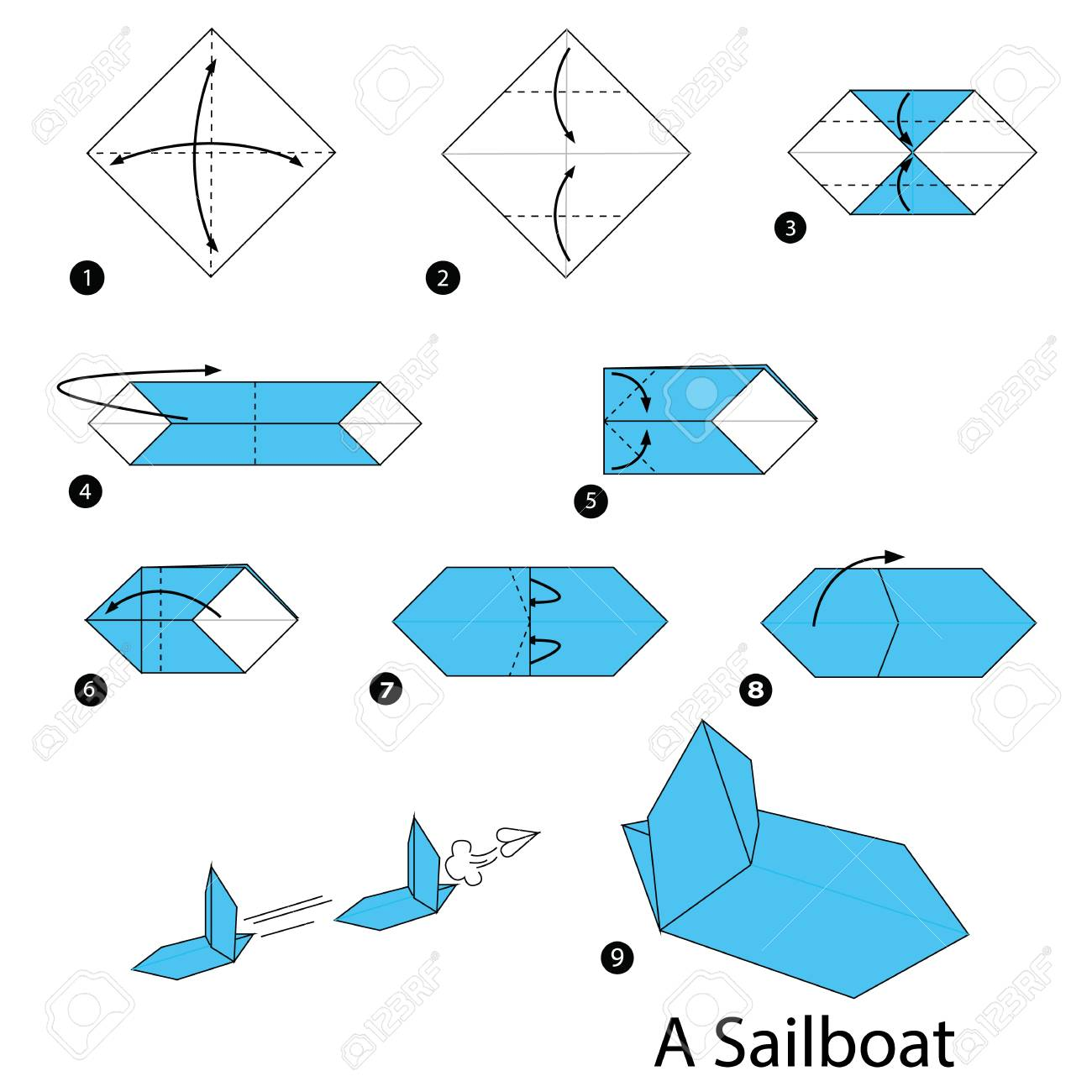 step by step instructions on how to make origami sailboat royalty