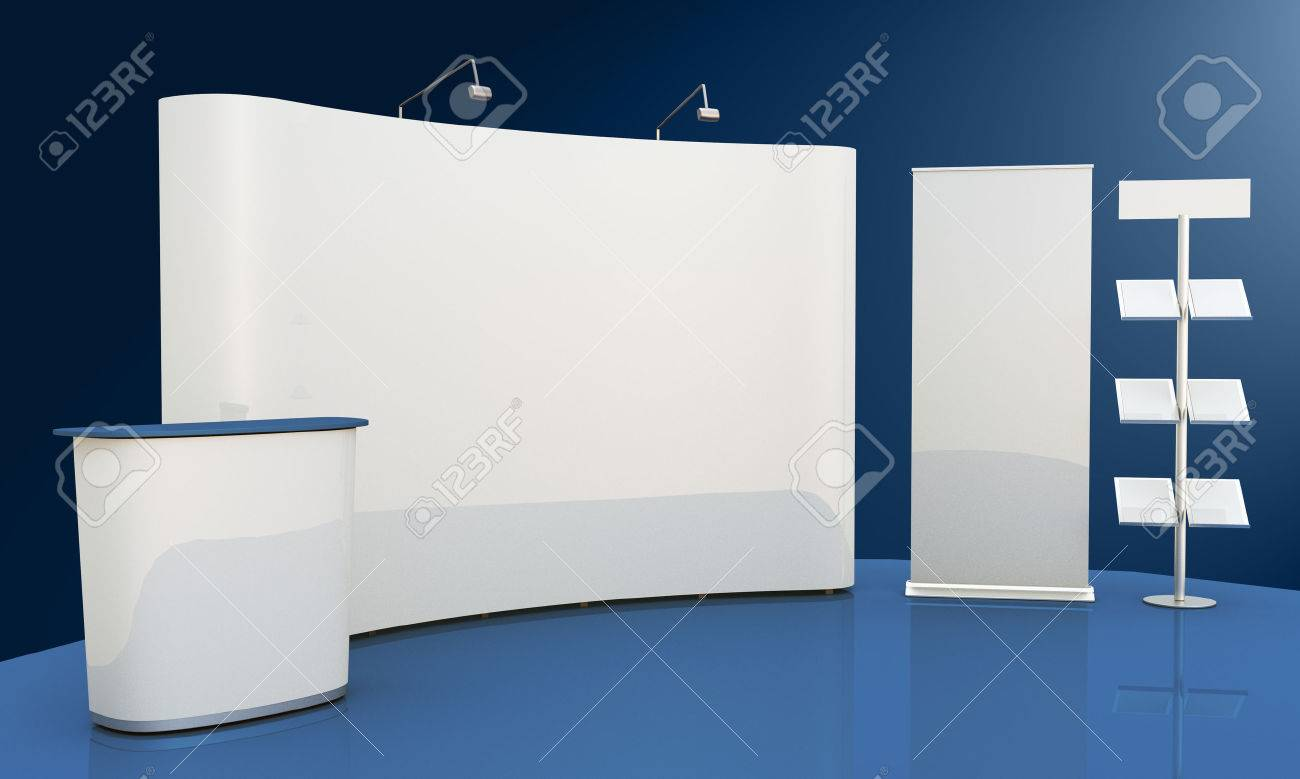 Render commercial stands, display of products at the fair - 31654136