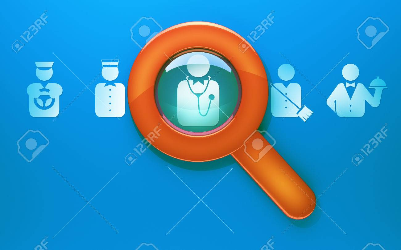 Illustration of search workers of different professions - 33104946