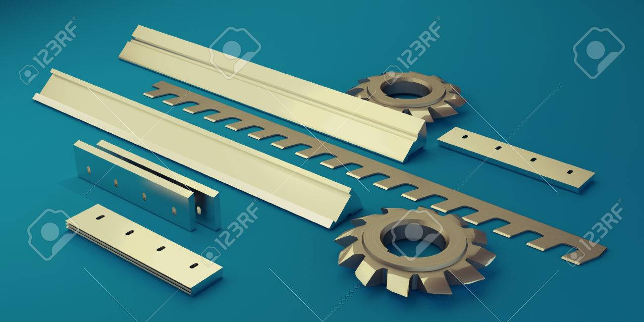 Illustration showing the different types of industrial knives - 34198747