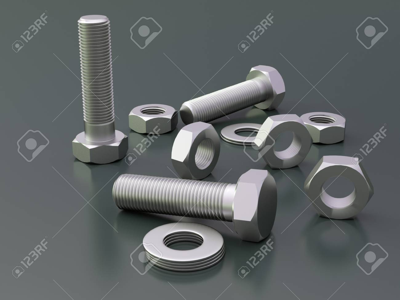 Dark background with bolts and nuts - 35796459