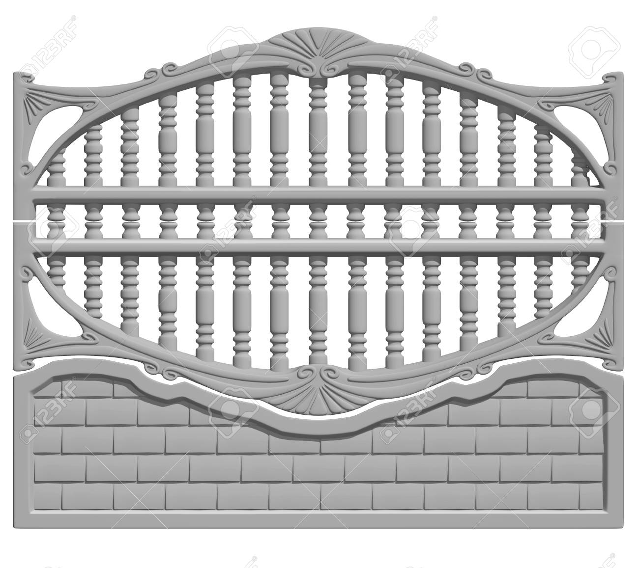 Illustration of a concrete fence on white background, product image to be included in the catalog - 36872318